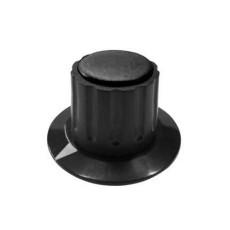 Manopola componibile per perni 6mm con fissaggio a mandrino con indice e cappuccio - diametro 36mm - nero