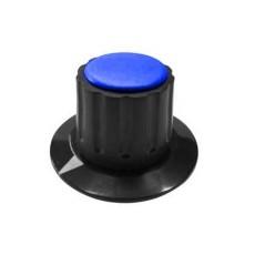 Manopola componibile per perni 6mm con fissaggio a mandrino con indice e cappuccio - diametro 36mm - blu