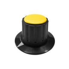 Manopola componibile per perni 6mm con fissaggio a mandrino con indice e cappuccio - diametro 36mm - giallo