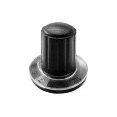 Manopola componibile per perni 6mm con fissaggio a mandrino con indice, cappuccio e disco graduato 0-10 su 270° - diametro 26mm - nero