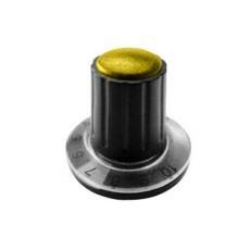 Manopola componibile per perni 6mm con fissaggio a mandrino con indice, cappuccio e disco graduato 0-10 su 270° - diametro 26mm - giallo