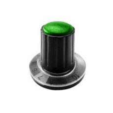 Manopola componibile per perni 6mm con fissaggio a mandrino con indice, cappuccio e disco graduato 0-10 su 270° - diametro 26mm - verde