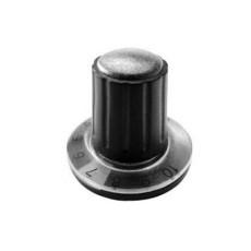 Manopola componibile per perni 6mm con fissaggio a mandrino con indice, cappuccio e disco graduato 0-10 su 270° - diametro 26mm - grigio