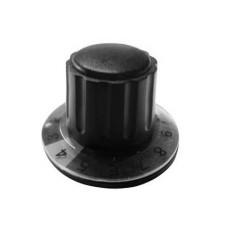 Manopola componibile per perni 6mm con fissaggio a mandrino con indice, cappuccio e disco graduato 0-10 su 270° - diametro 36mm - nero