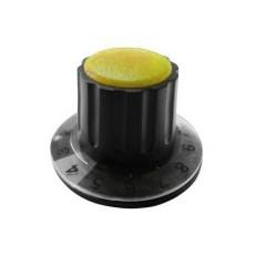 Manopola componibile per perni 6mm con fissaggio a mandrino con indice, cappuccio e disco graduato 0-10 su 270° - diametro 36mm - giallo
