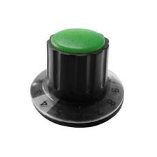 Manopola componibile per perni 6mm con fissaggio a mandrino con indice, cappuccio e disco graduato 0-10 su 270° - diametro 36mm - verde