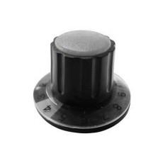 Manopola componibile per perni 6mm con fissaggio a mandrino con indice, cappuccio e disco graduato 0-10 su 270° - diametro 36mm - grigio