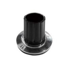 Manopola componibile per perni 6mm con fissaggio a mandrino con indice, cappuccio e disco graduato 0-11 su 360° - diametro 26mm - nero