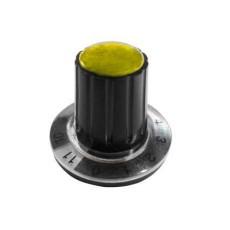 Manopola componibile per perni 6mm con fissaggio a mandrino con indice, cappuccio e disco graduato 0-11 su 360° - diametro 26mm - giallo