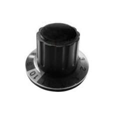 Manopola componibile per perni 6mm con fissaggio a mandrino con indice, cappuccio e disco graduato 0-11 su 360° - diametro 36mm - nero