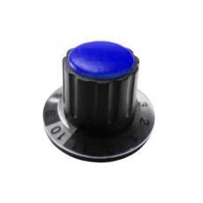 Manopola componibile per perni 6mm con fissaggio a mandrino con indice, cappuccio e disco graduato 0-11 su 360° - diametro 36mm - blu
