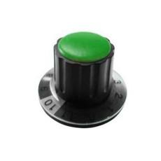 Manopola componibile per perni 6mm con fissaggio a mandrino con indice, cappuccio e disco graduato 0-11 su 360° - diametro 36mm - verde