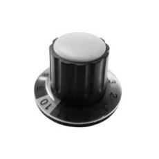 Manopola componibile per perni 6mm con fissaggio a mandrino con indice, cappuccio e disco graduato 0-11 su 360° - diametro 36mm - grigio