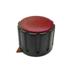 Manopola componibile per perni 6mm con fissaggio a mandrino con indice e cappuccio - diametro 29mm - rosso
