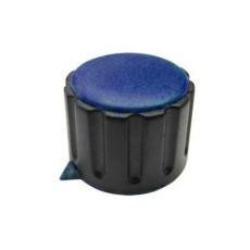 Manopola componibile per perni 6mm con fissaggio a mandrino con indice e cappuccio - diametro 29mm - blu
