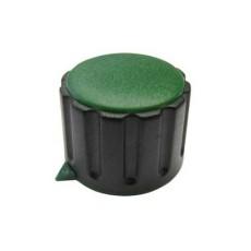 Manopola componibile per perni 6mm con fissaggio a vite con indice e cappuccio - diametro 29mm - verde