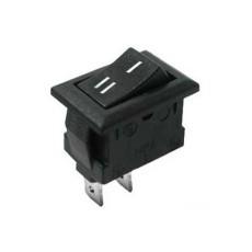 Interruttore a bilanciere unipolare con tasto nero - 21x15mm - 250Vca 10A
