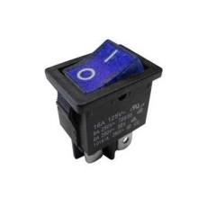 Interruttore a bilanciere bipolare con tasto blu luminoso - 21x15mm - 250Vca 10A