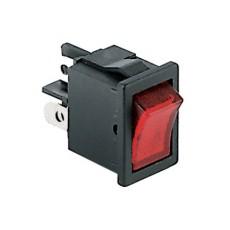 Interruttore a bilanciere bipolare con tasto rosso luminoso - 21x15mm - 250Vca 6A