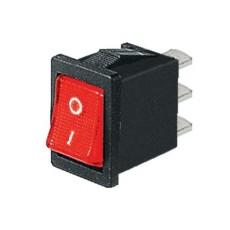 Interruttore a bilanciere unipolare con tasto rosso luminoso - 21x15mm - 250Vca 6A