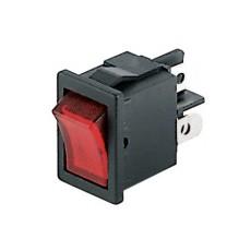 Interruttore a bilanciere unipolare con tasto rosso - 21x15mm - 250Vca 6A
