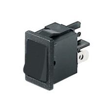 Interruttore a bilanciere unipolare con tasto nero - 21x15mm - 250Vca 6A