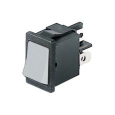 Interruttore a bilanciere unipolare con tasto bianco - 21x15mm - 250Vca 6A