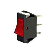 Interruttore a bilanciere unipolare con tasto rosso luminoso - 30x14mm - 250Vca 16A
