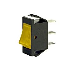 Interruttore a bilanciere unipolare con tasto giallo luminoso - 30x14mm - 250Vca 16A