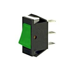 Interruttore a bilanciere unipolare con tasto verde luminoso - 30x14mm - 250Vca 16A