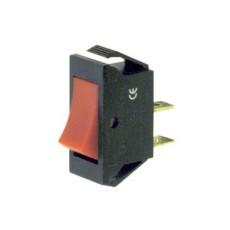 Interruttore a bilanciere unipolare con tasto rosso - 30x14mm - 250Vca 16A