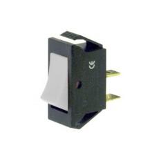 Interruttore a bilanciere unipolare con tasto bianco - 30x14mm - 250Vca 16A
