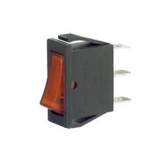 Interruttore a bilanciere unipolare con tasto rosso luminoso - 31x13mm - 250Vca 16A