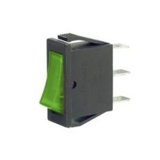Interruttore a bilanciere unipolare con tasto verde luminoso - 31x13mm - 250Vca 16A
