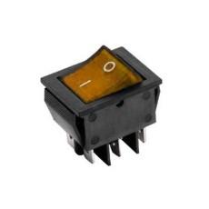 Interruttore a bilanciere bipolare con tasto arancione luminoso - 31x25mm - 250Vca 16A