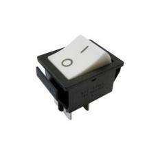 Interruttore a bilanciere bipolare con tasto bianco - 31x25mm - 250Vca 16A