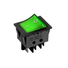 Interruttore a bilanciere bipolare con tasto verde luminoso - 32x25mm - 250Vca 16A