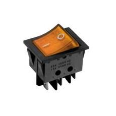 Interruttore a bilanciere bipolare con tasto arancione luminoso - 33x25mm - 250Vca 16A