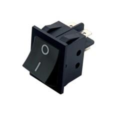 Interruttore a bilanciere bipolare con tasto nero con autoritorno - 34x26mm - 250Vca 15A