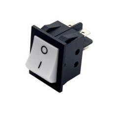 Interruttore a bilanciere bipolare con tasto bianco con autoritorno - 34x26mm - 250Vca 15A