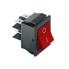 Interruttore a bilanciere bipolare con tasto rosso - 35x25mm - 250Vca 15A