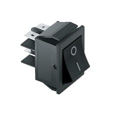 Interruttore a bilanciere bipolare con tasto nero - 35x25mm - 250Vca 15A