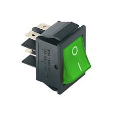 Interruttore a bilanciere bipolare con tasto verde luminoso - 35x25mm - 250Vca 15A