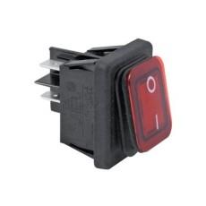 Interruttore a bilanciere bipolare con tasto rosso luminoso resistente all'acqua - 35x30mm - 250Vca 16A