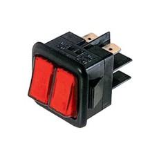 Interruttore a bilanciere doppio unipolare con tasto rosso luminoso - 30x27mm - 250Vca 16A