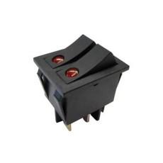 Interruttore a bilanciere doppio unipolare con tasto nero con autoritorno - 32x25mm - 250Vca 16A