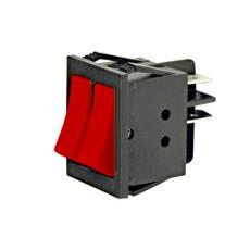 Interruttore a bilanciere doppio unipolare con tasto rosso - 32x25mm - 250Vca 16A