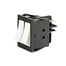 Interruttore a bilanciere doppio unipolare con tasto bianco - 32x25mm - 250Vca 16A