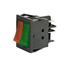 Interruttore a bilanciere doppio unipolare con tasto rosso - verde luminoso - 32x25mm - 250Vca 16A