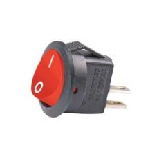 Interruttore a bilanciere unipolare con tasto rosso - diametro 16mm - 250Vca 3A - 125V 6A